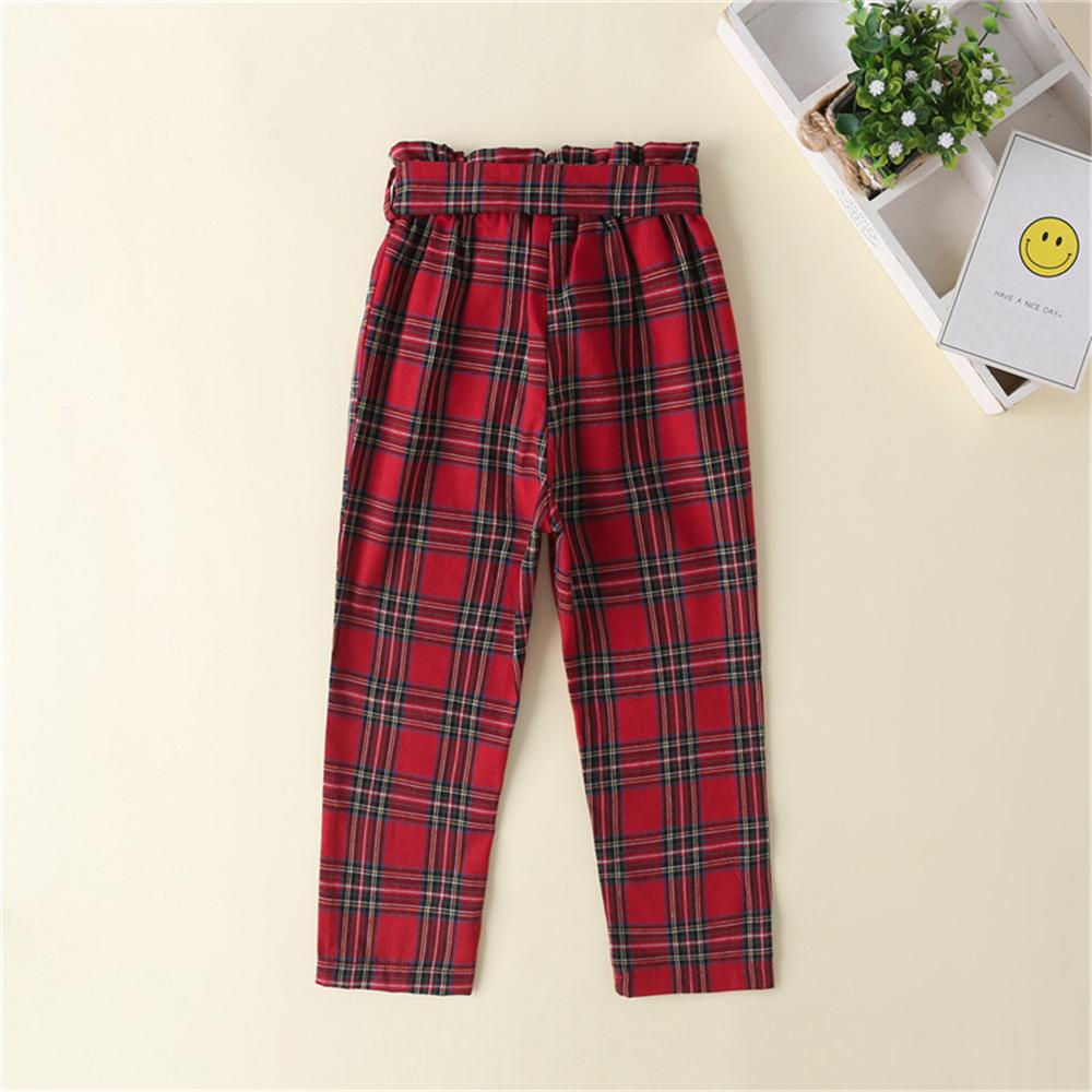 Toddler Girls Bow Plaid Trousers Children's Wholesale Boutique Clothing