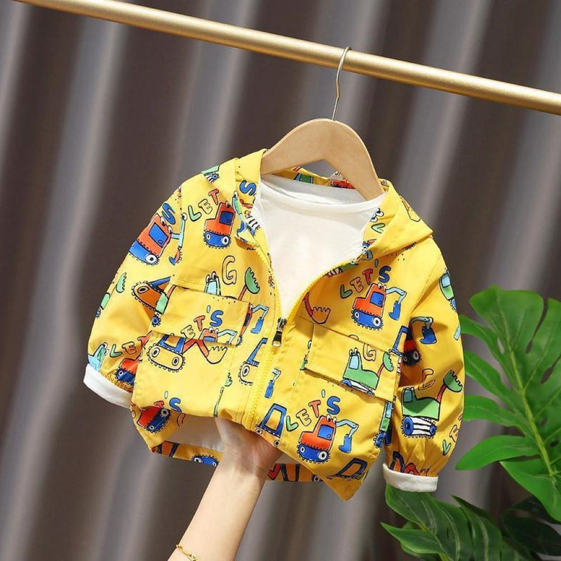 Boys Cartoon Car Hooded Zipper Jacket Baby Boy Wholesale Clothing - PrettyKid