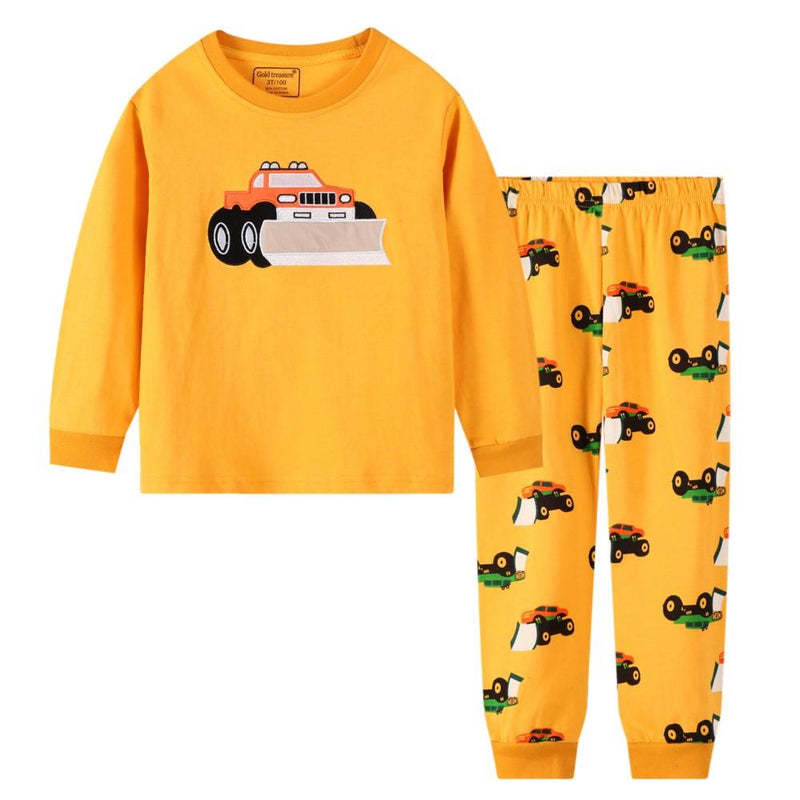 Boys Cartoon Car Long Sleeves Tracksuit Suits Wholesale Toddler Boy Clothing - PrettyKid