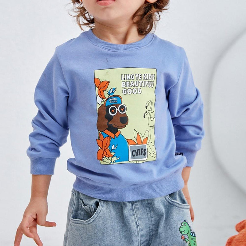 Boys Cool Dog Letter Printed Top Little Boys Wholesale Clothing - PrettyKid