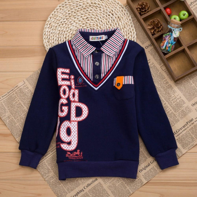 Boys Fake Two Letter Printed Long Sleeve T-shirt British School Boy - PrettyKid