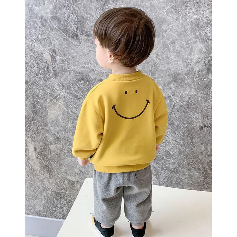 Boys Long Sleeve Smile Letter Printed Shirt Wholesale Toddler Boy Clothing - PrettyKid
