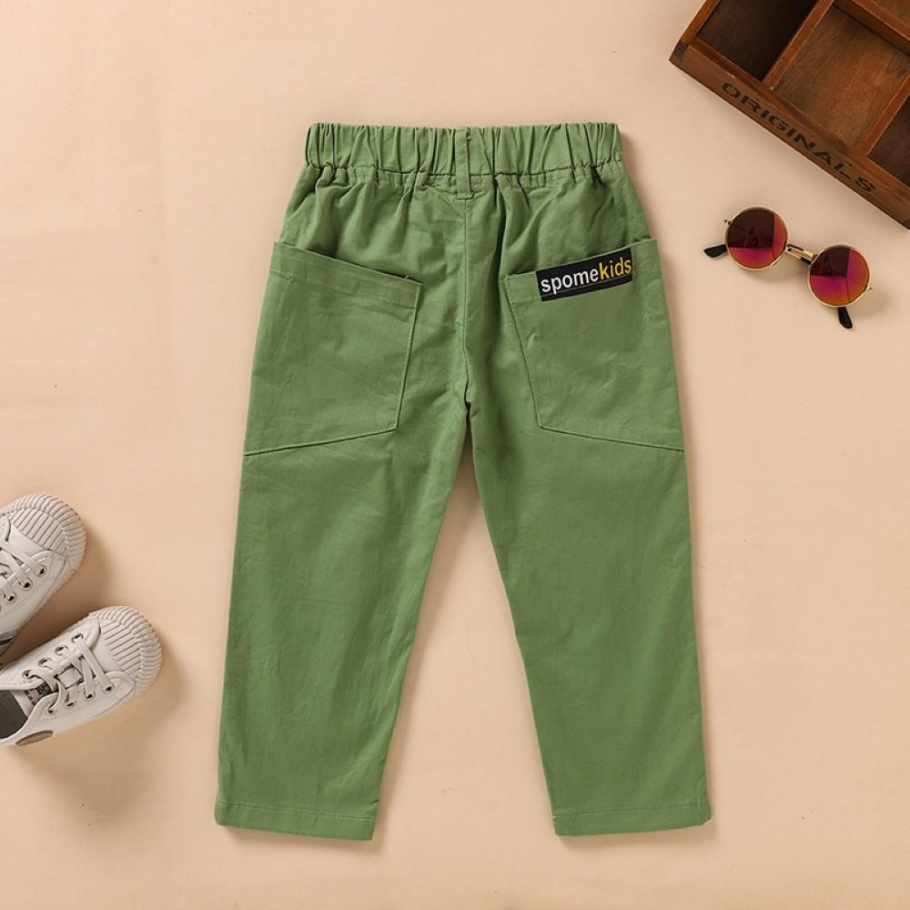 Boys Pocket Spomekids Letter Pattern Green Causal Pants Wholesale Boy Boutique Clothing