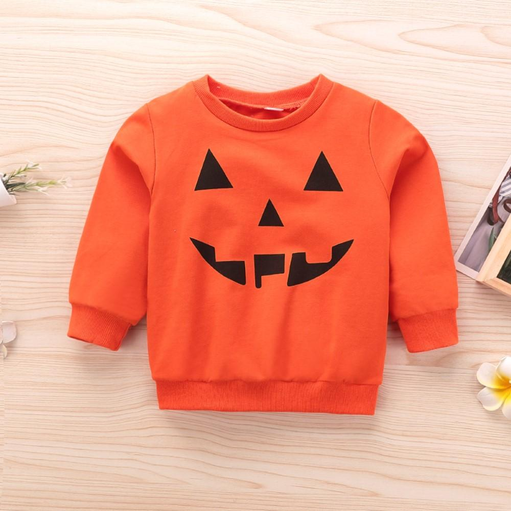 Boys Round Neck Pumpkin Printed Top Boy Clothes Wholesale - PrettyKid