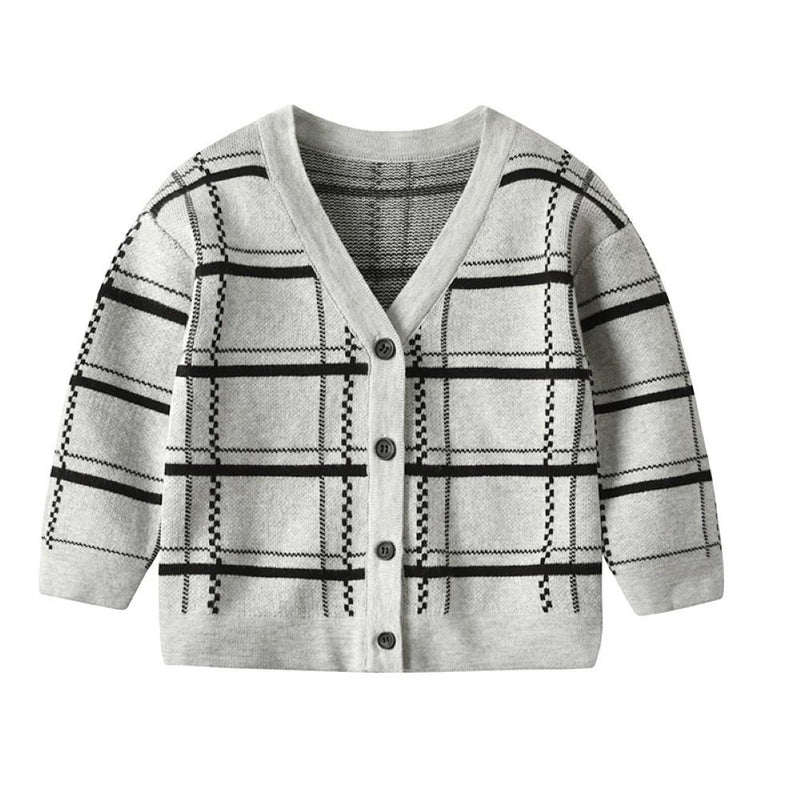 Boys V-Neck Lattice Knitting Long Sleeves Jacket Boy Clothes Wholesale - PrettyKid