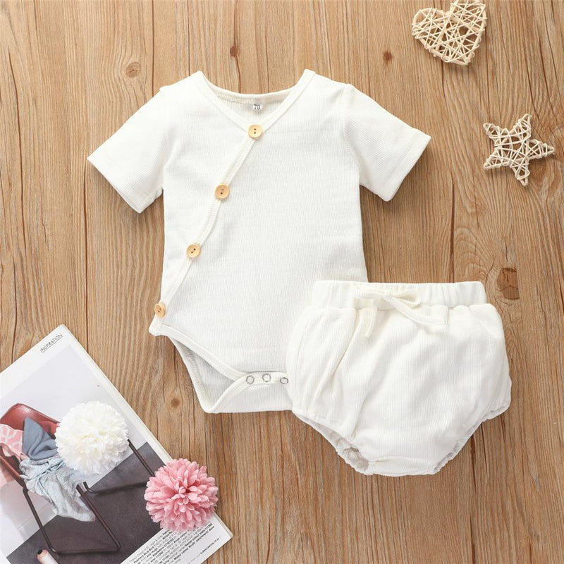 Baby Girls Button Cardigan Short Sleeve Romper & Shorts Baby clothes
