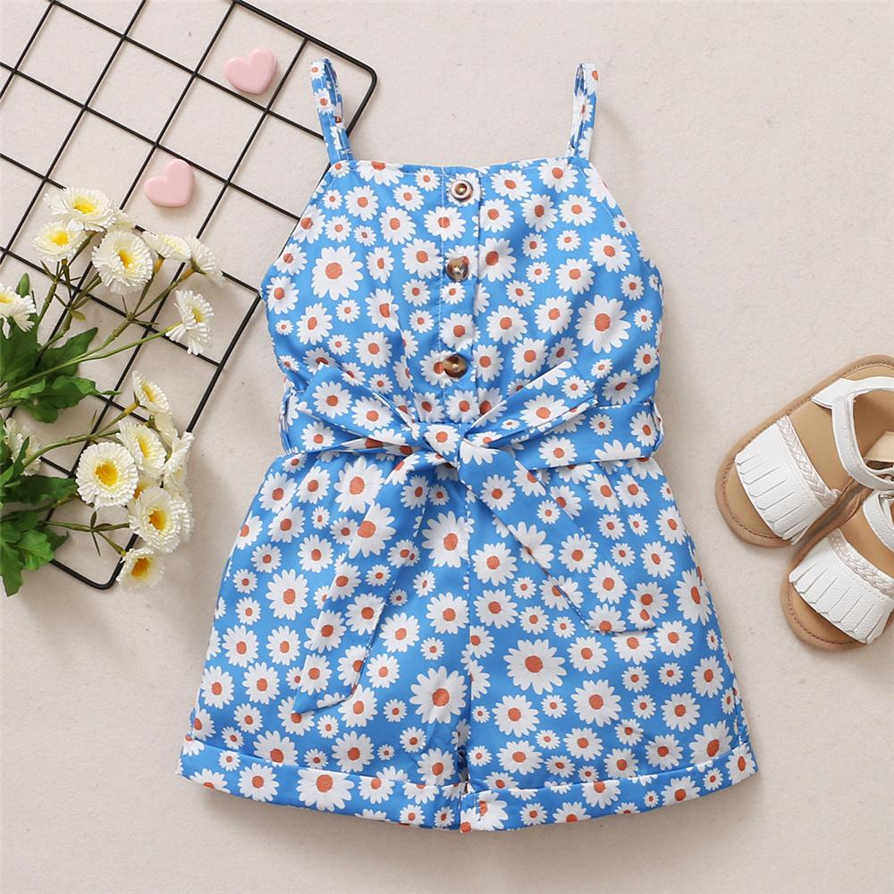 Toddler Girls Button Floral Printed Sling Jumpsuit kinder baby clothes wholesale
