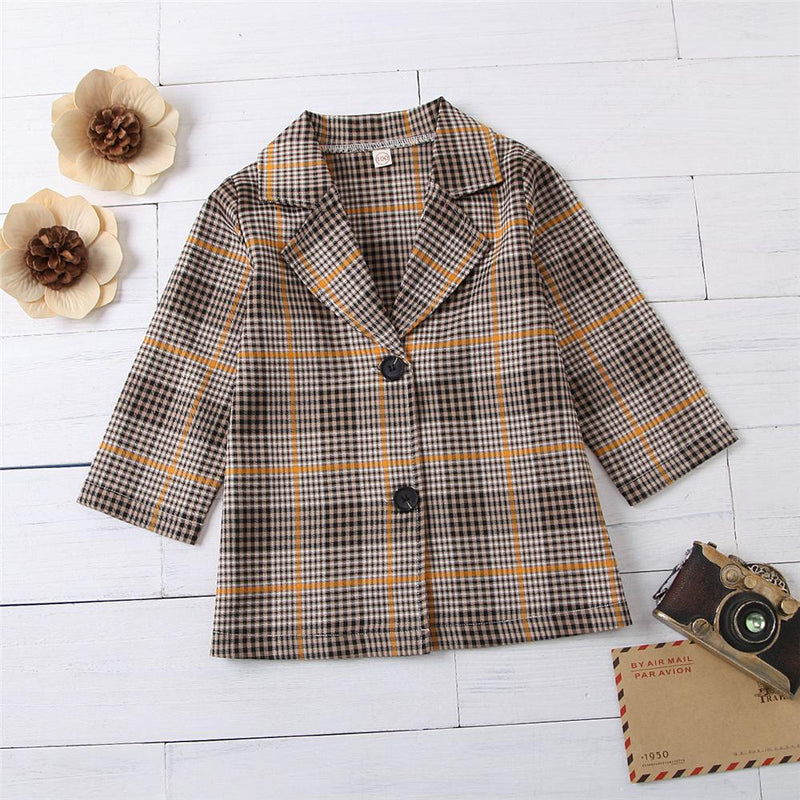 Girls Button Lapel Long-Sleeve Plaid Outwear Girls Boutique Clothes Wholesale - PrettyKid