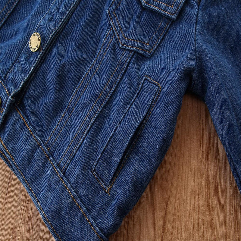 Girls Button Lapel Solid Denim Jacket Girls Clothing Wholesale