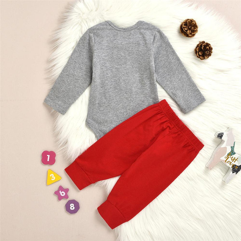 Baby Boy Button Long Sleeve Romper & Red Pants Baby Clothing Wholesale - PrettyKid