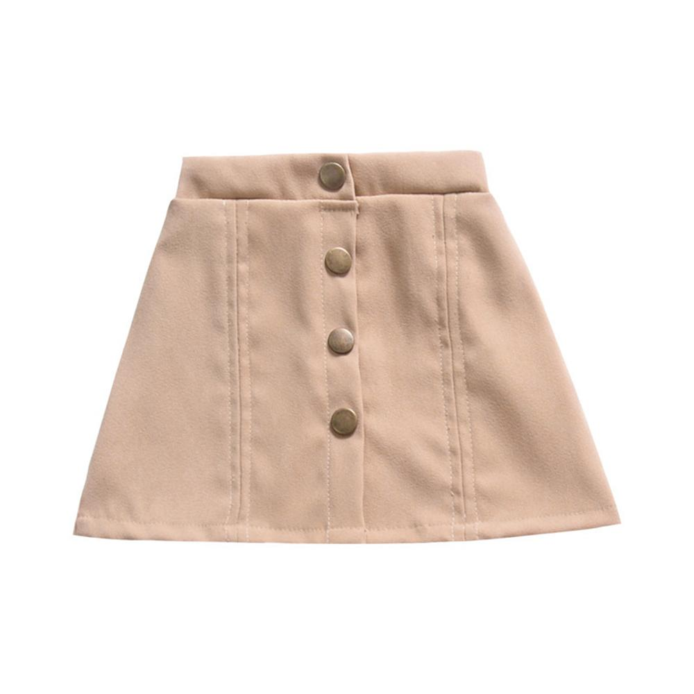Girls Button Solid Color Vintage Skirt Wholesale Childrens Clothing In Bulk