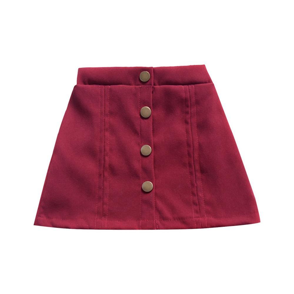 Girls Button Solid Color Vintage Skirt Wholesale Childrens Clothing In Bulk - PrettyKid