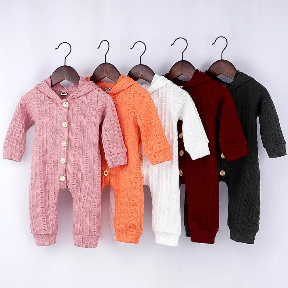 Baby Unisex Knitted Solid Hooded Cardigan Romper Babywear Wholesale - PrettyKid