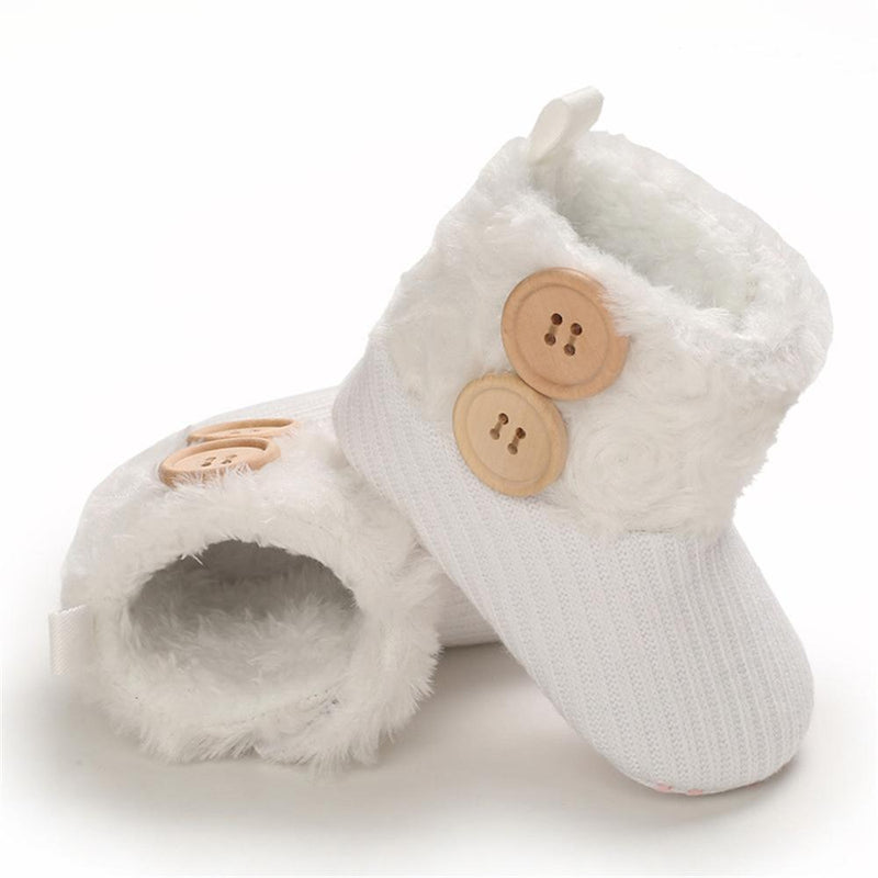 Baby Girls Button Solid Magic Tape Snow Boots Wholesale Infant Shoes