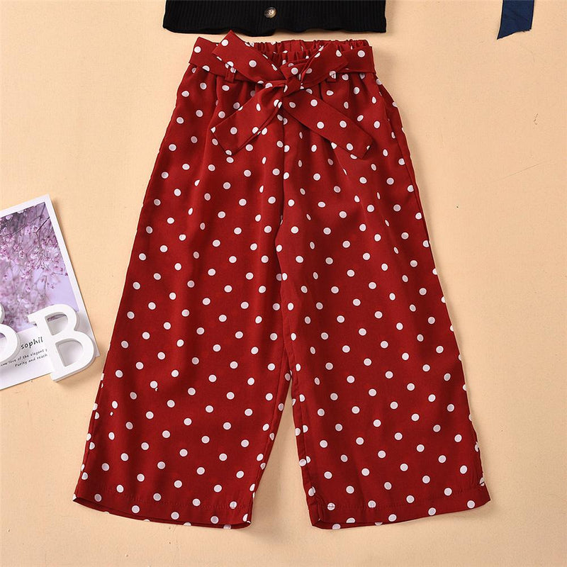 Girls Button Solid Top & Polka Dot Bow Pants Children'S Boutique clothes Wholesale vendors - PrettyKid