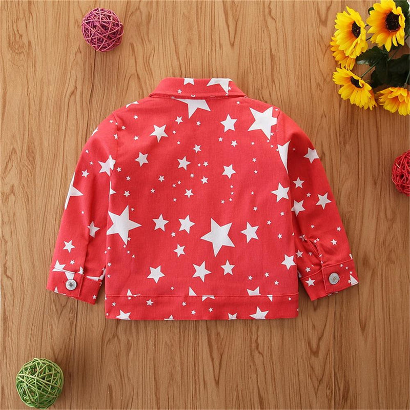 Girls Button Star Printed Lapel Long-Sleeve Jacket Wholesale Girl Clothing - PrettyKid