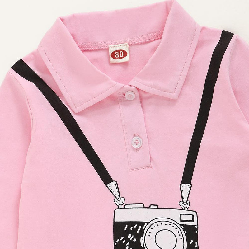 Baby Girls Camera Printed Lapel Long Sleeve Pleated Dress Baby Clothing In Bulk
