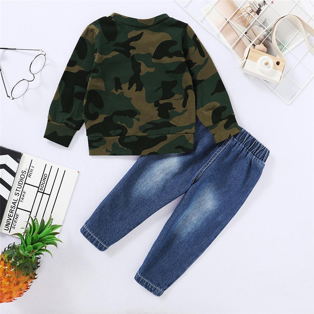 Boys Camo Daddy's Boy Printed Long Sleeve Top & Ripped Jeans Boutique Kids Clothes Wholesale