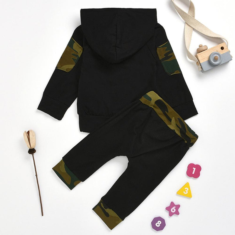 Baby Boys Camo Letter Printed Hooded Long Sleeve Top & Pants Wholesale
