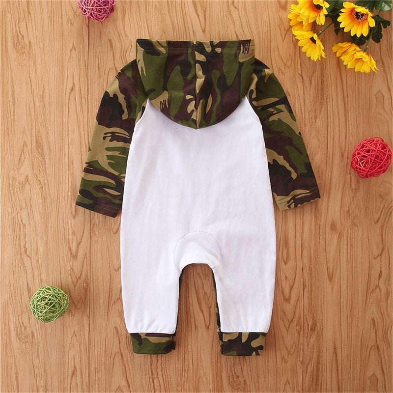 Baby Camo Letter Printed Hooded Romper Newborn Baby Clothes Wholesale