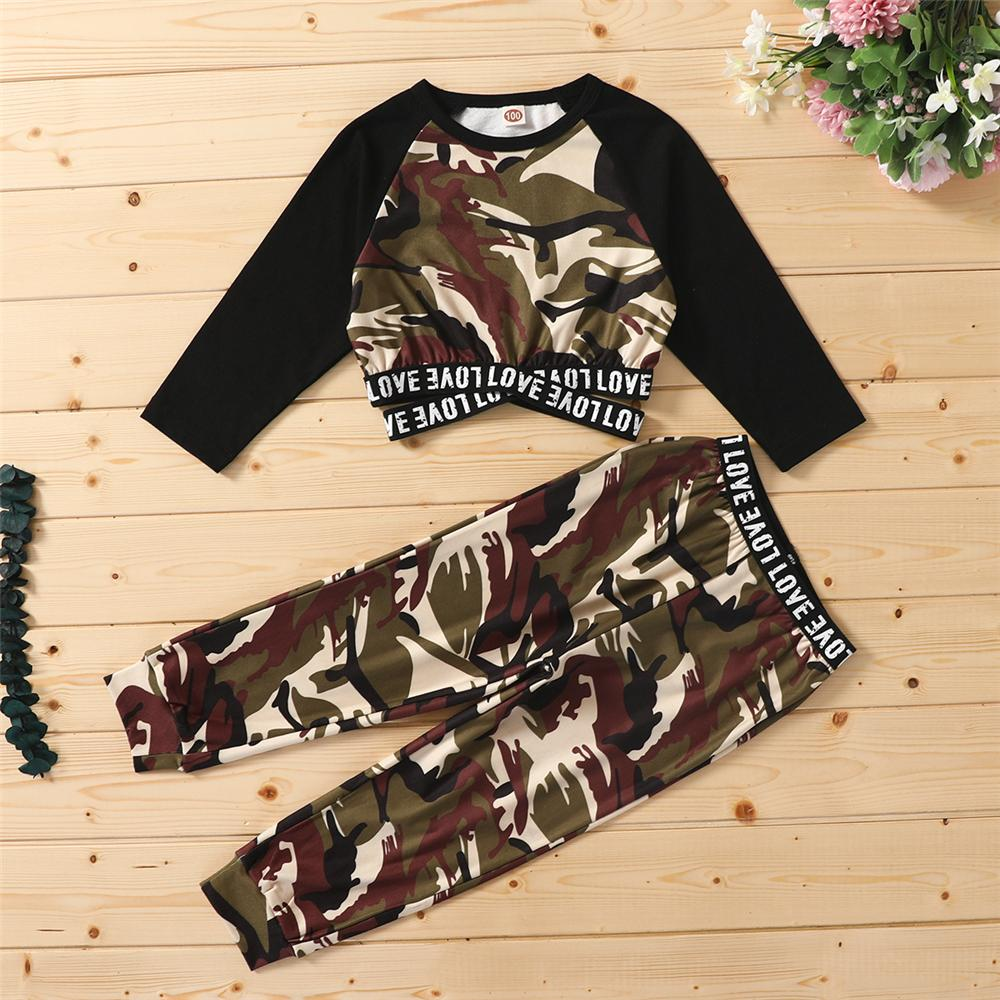 Girls Camo Letter Printed Long Sleeve Top & Pants Girl T Shirts Wholesale - PrettyKid
