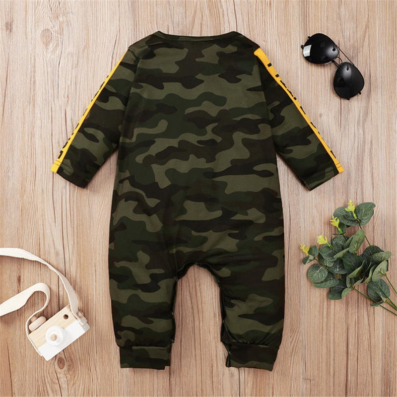 Baby Boys Camo Letter Printed Long Sleeve Wholesale Baby Rompers - PrettyKid