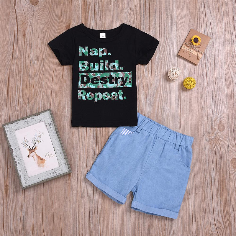 Boys Camo Nap Build Destry Repeat Printed Short Sleeve Top & Denim Shorts Boys Summer Outfits