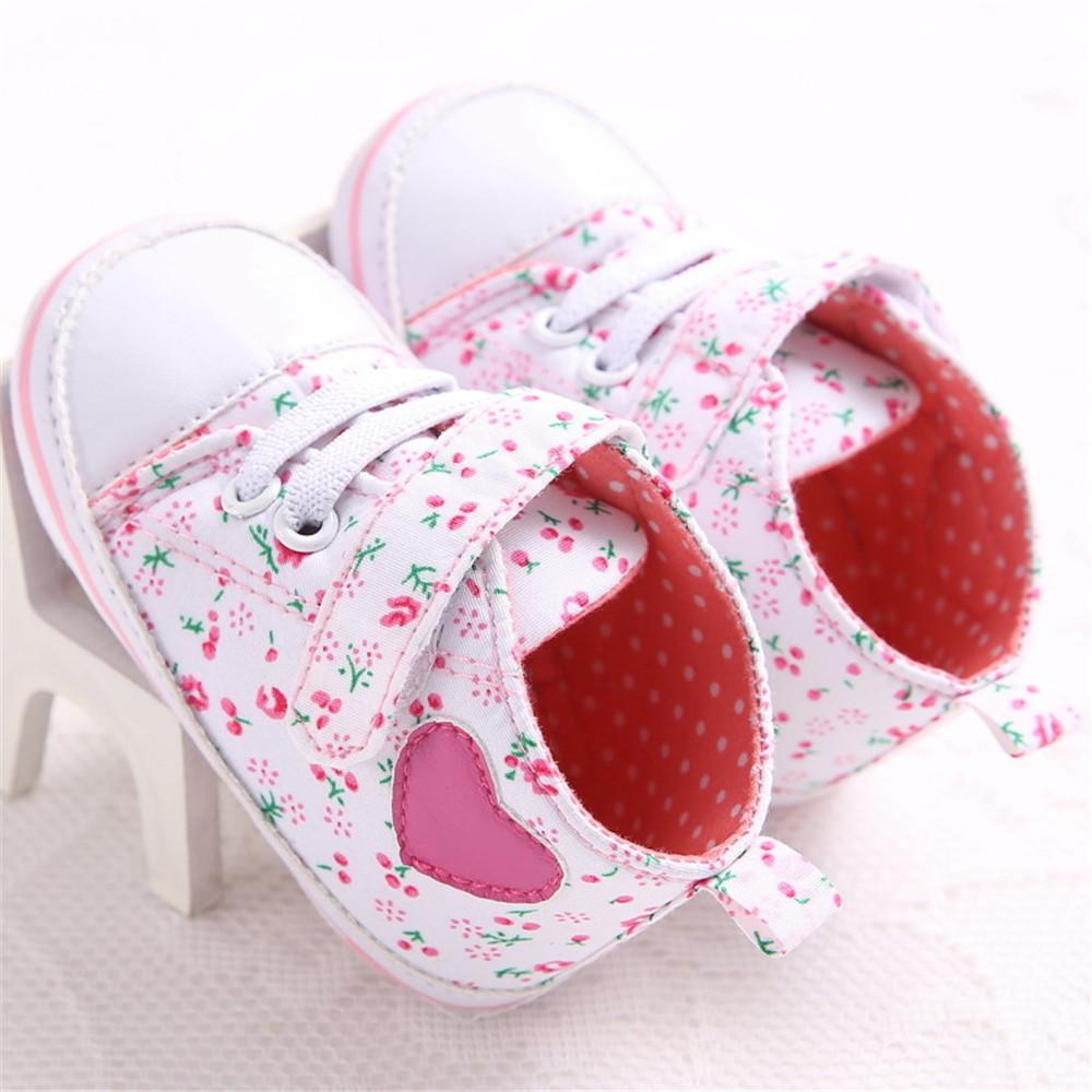 Baby Girls Canvas Floral Magic Tape Casual Sneakers - PrettyKid