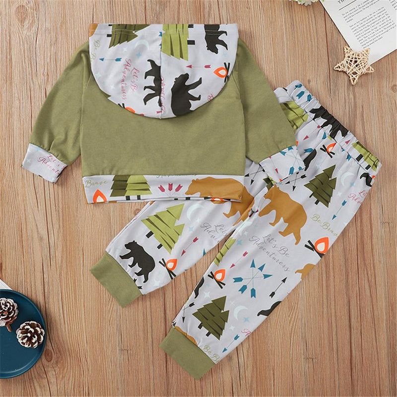 Baby Boys Cartoon Bear Hooded Top & Pants Baby Boutique Clothing Wholesale