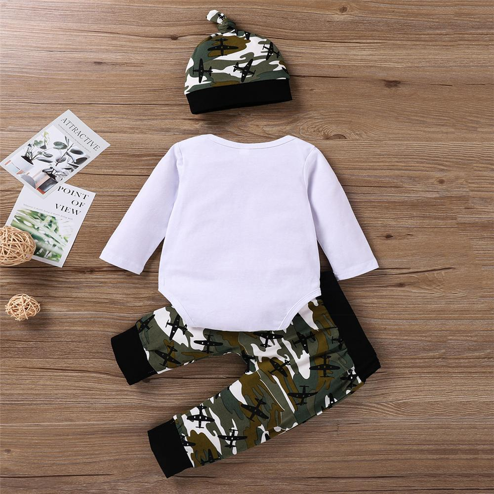 Baby Boys Cartoon Camo Romper & Pants & Hat Baby Clothing Distributor