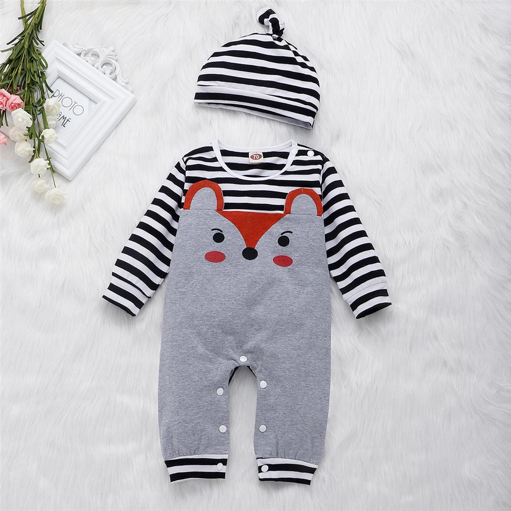 Baby Unisex Cartoon Fox Striped Romper & Hat Baby Clothes Suppliers - PrettyKid