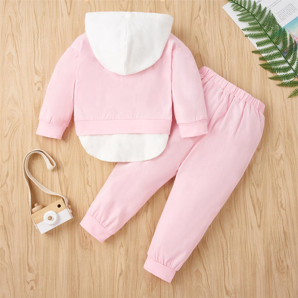Girls Cartoon Hooded Long Sleeve Top & Trousers Baby Outfits Girl