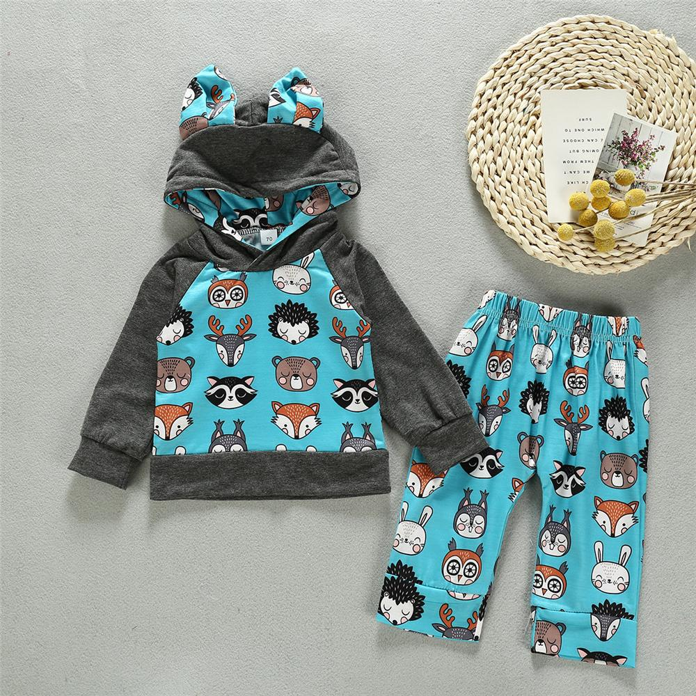 Baby Unisex Cartoon Hooded Top & Bottoms Baby Clothes Wholesale Supplier - PrettyKid