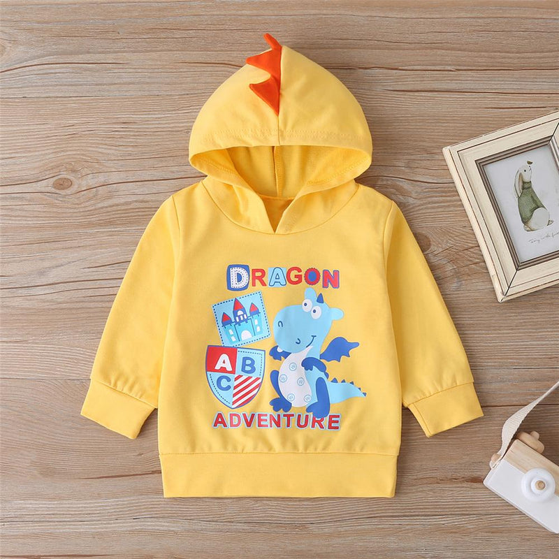 Baby Boys Cartoon Letter Printed Hooded Jumper Baby Clothes Cheap Wholesale - PrettyKid