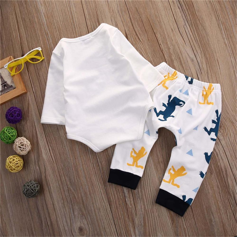 Baby Boys Cartoon Letter Printed Rompers & Pants - PrettyKid