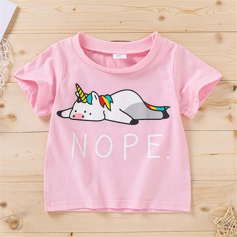 Girls Cartoon Letter Printed Short Sleeve Top Girl Boutique clothes Wholesale