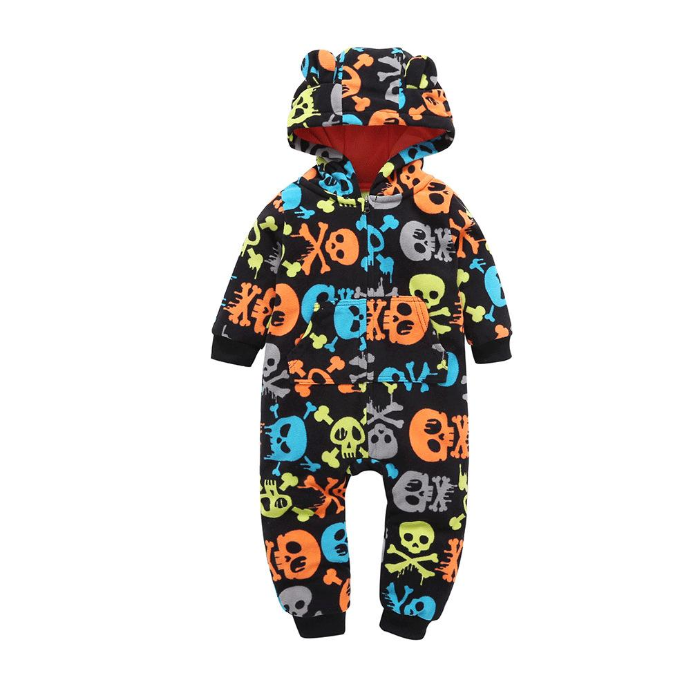 Baby Boys Cartoon Long Sleeve Hooded Romper Baby Clothes Cheap Wholesale - PrettyKid