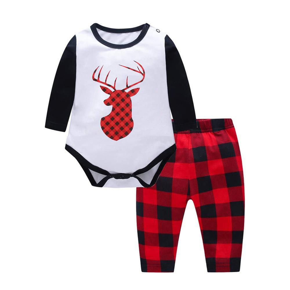 Parent-Child Cartoon Plaid Elk Printed Long Sleeve Pajamas Sets Mommy And Me Outfits Wholesale
