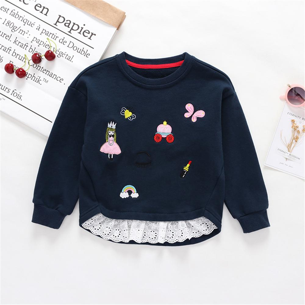 Girls Cartoon Princess Embroidered Long Sleeve Lace Tops Girl T Shirts Wholesale - PrettyKid