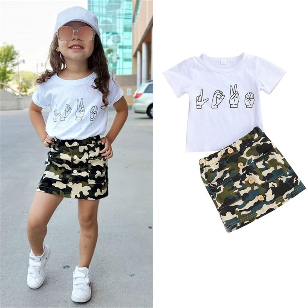 Girls Cartoon Printed Short Sleeve Top & Camo Skirt Girls Boutique Clothes Wholesale - PrettyKid