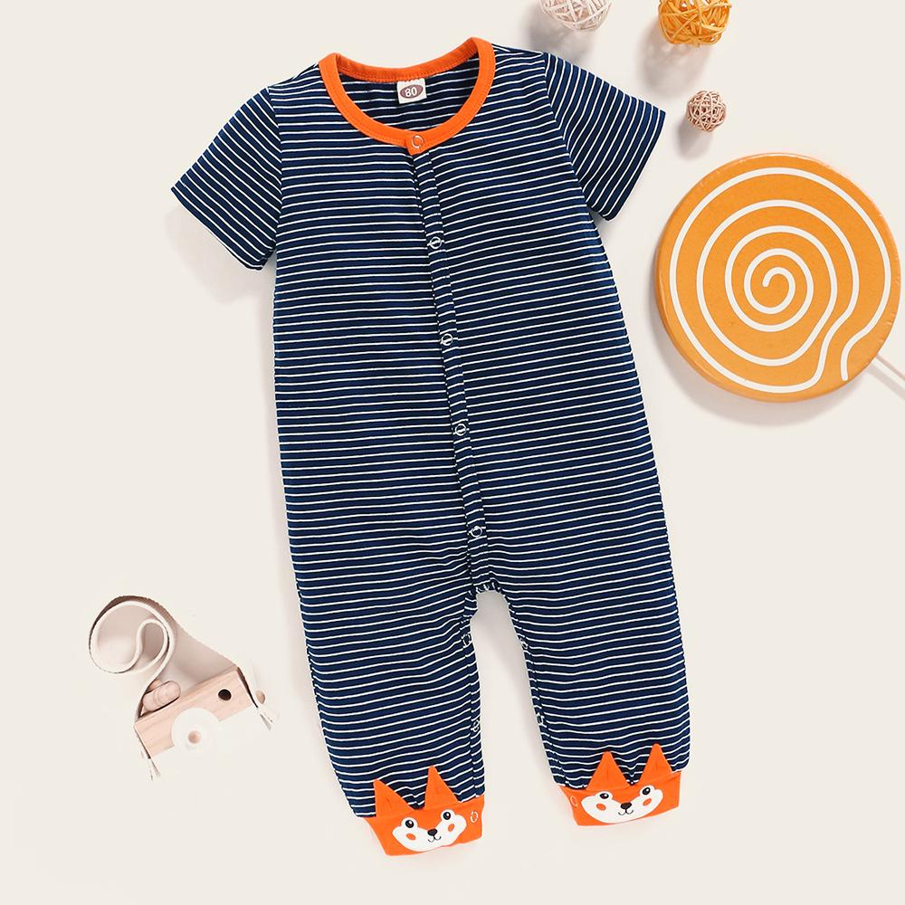Baby Unisex Cartoon Striped Short Sleeve Cardigan Romper Wholesale clothes Baby in bulk - PrettyKid
