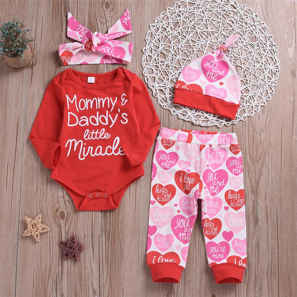 Baby Unisex Casual 4PCS Letter Heart Printed Sets Babywear Wholesale - PrettyKid