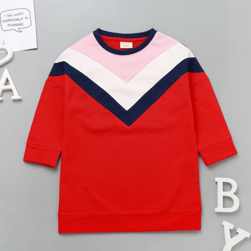 Girls Casual Color Contrast Long Tops Wholesale Kidswear