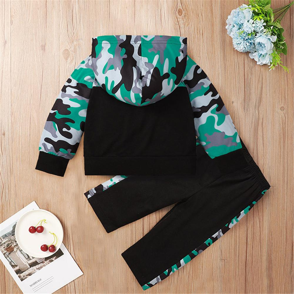 Baby Casual Hooded Long Sleeve Camo Printed Tracksuit Baby Wholesale Clothing - PrettyKid