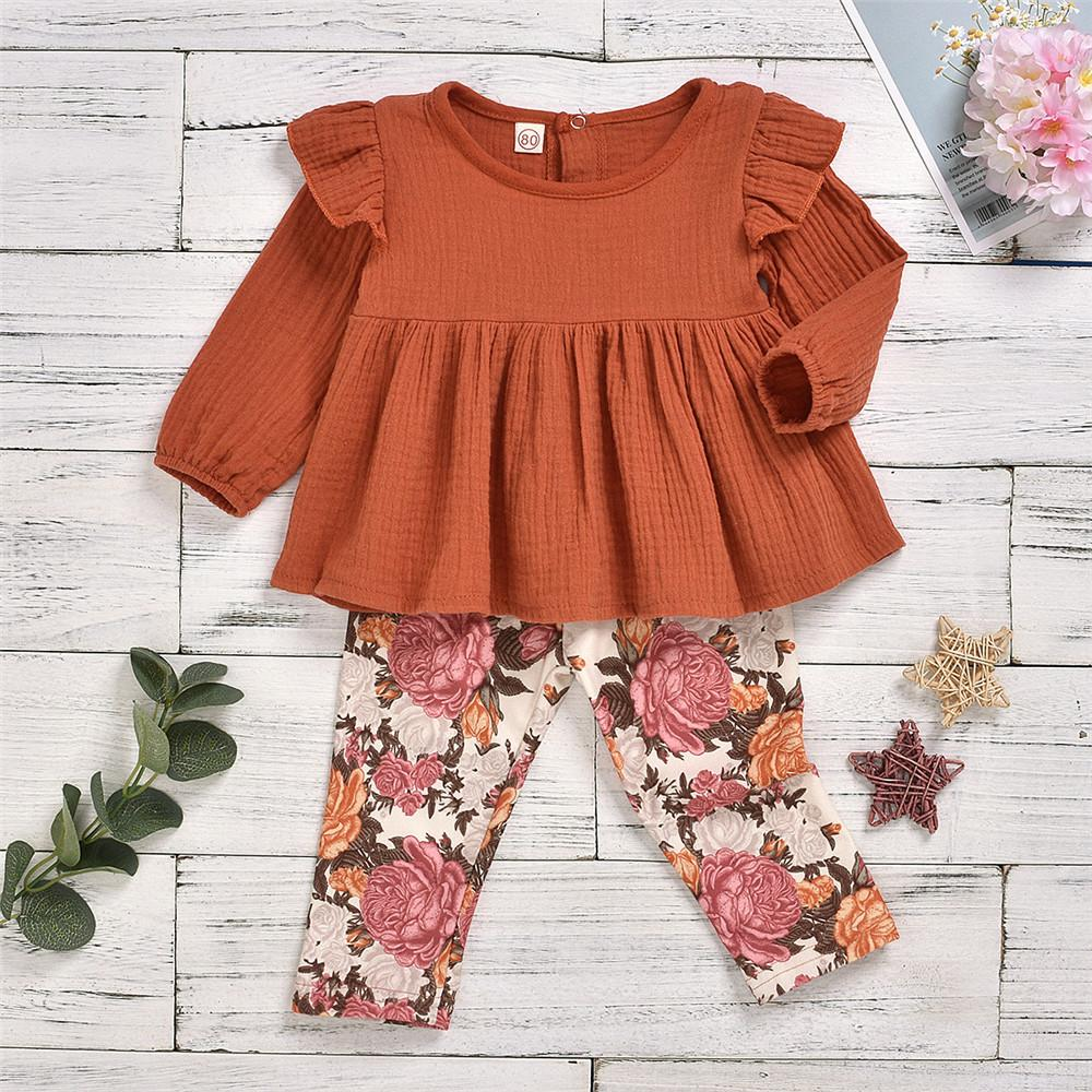 Girls Casual Long Sleeve Solid T Shirt & Floral Printed Pants - PrettyKid