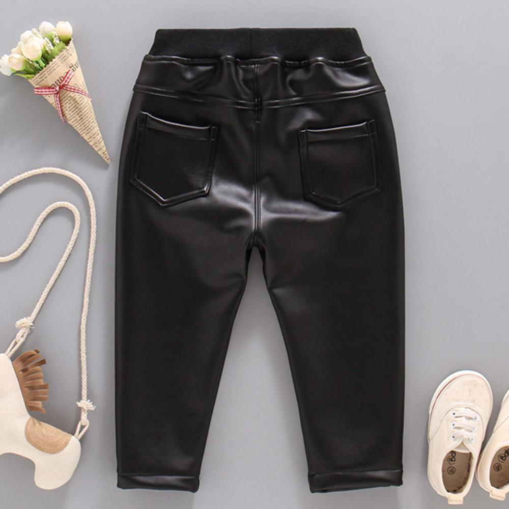 Boys Casual Pocket Artificial Leather Pants Wholesale Bulk Childrens Clothing Suppliers