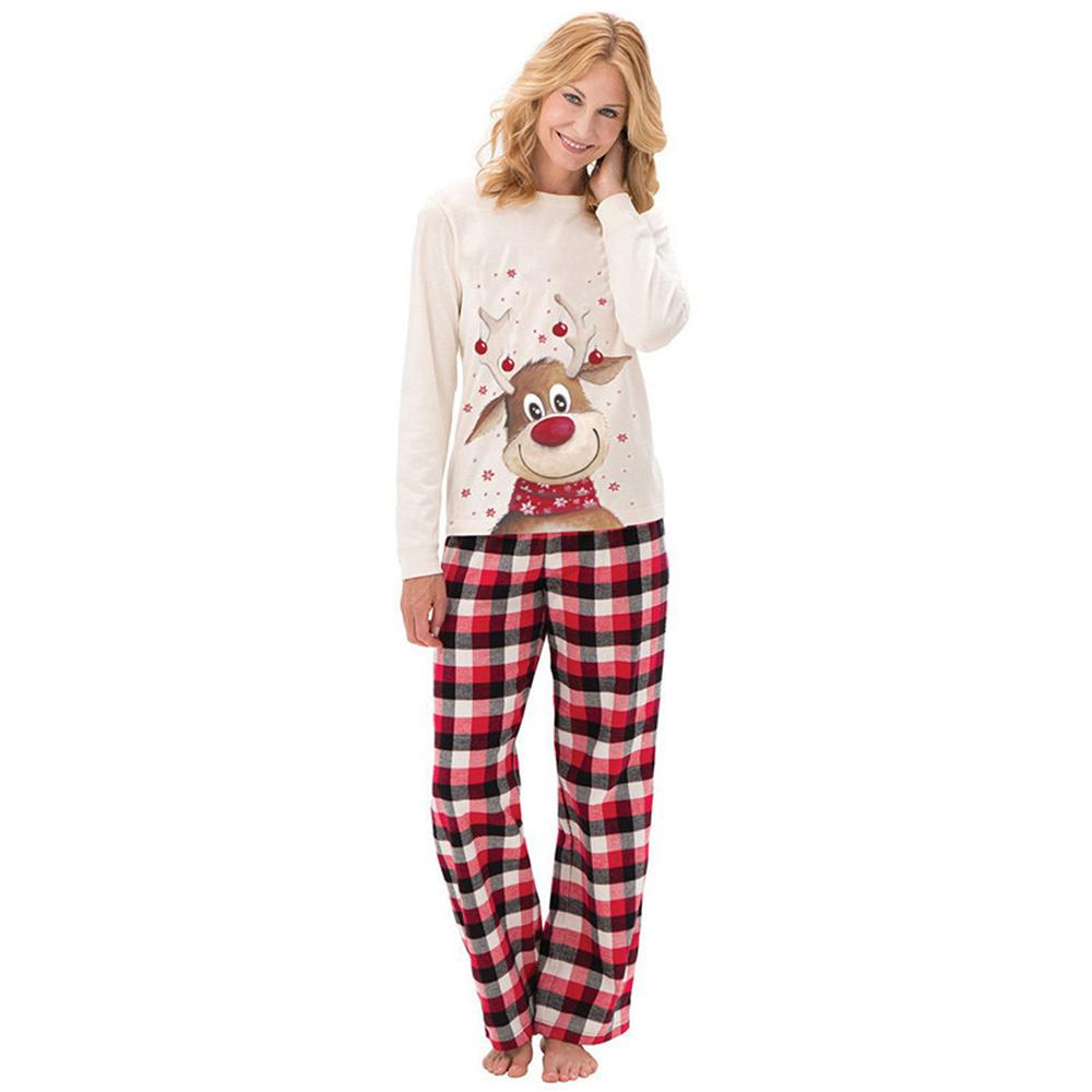 Parent-Child Christmas Elk Printed Long Sleeve Plaid Pajamas Sets Wholesale Mommy And Me Clothing