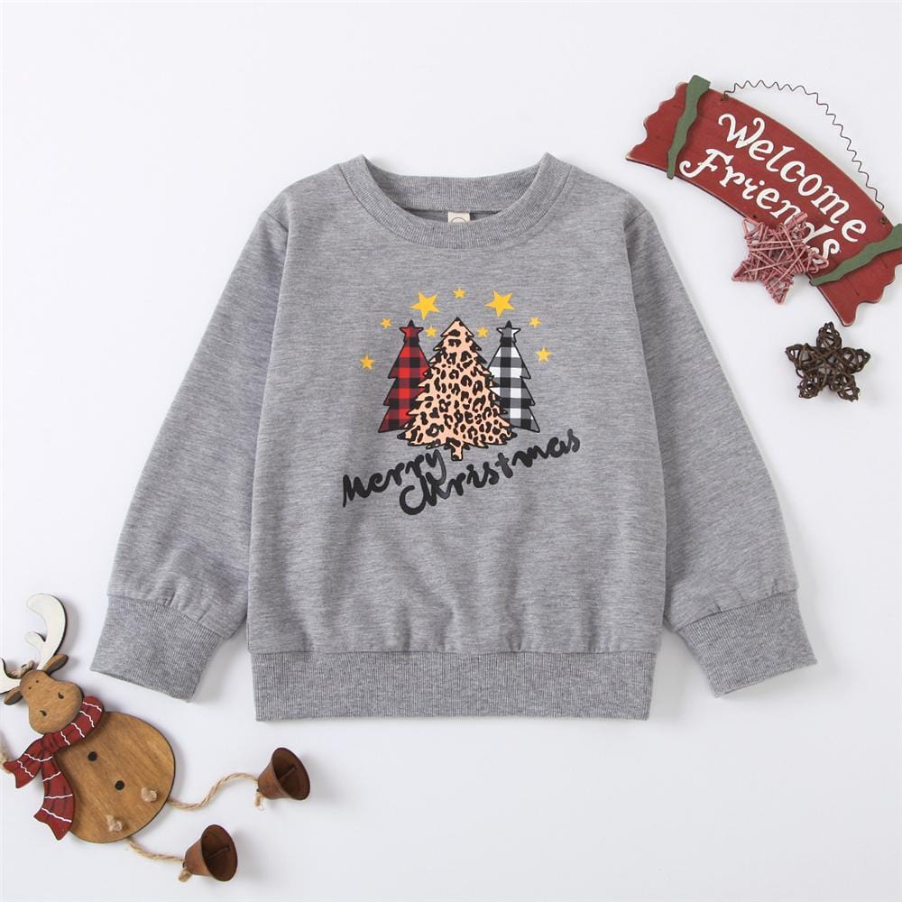 Baby Unisex Christmas Tree Printed Long Sleeve Top Wholesale Baby Outfits - PrettyKid