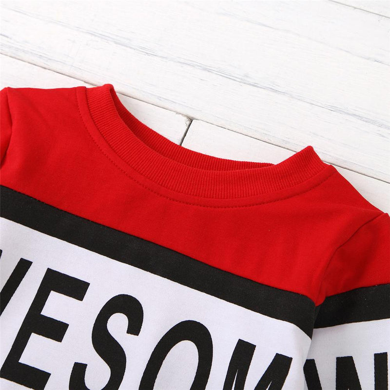 Unisex Color Block Letter Printed Long Sleeve Top Kids Wholesale Clothing