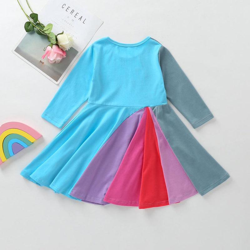Girls Color Block Long Sleeve Pleated Dress Girl Boutique Clothing Wholesale